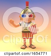 Roman Centurion Soldier Eating Popcorn And Wearing 3d Glasses 3d Illustration by Steve Young