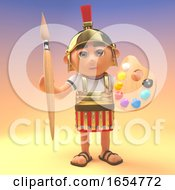Cartoon Roman Centurion Soldier Holding A Paintbrush And Palette 3d Illustration by Steve Young