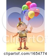 Roman Centurion Soldier Celebrating With Party Balloons 3d Illustration by Steve Young
