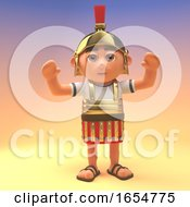 Cheering Roman Centurion Soldier With His Arms In The Air 3d Illustration by Steve Young