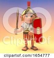 Ready For Battle Roman Centurion Soldier With Shield And Sword Drawn 3d Illustration by Steve Young