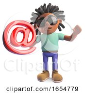 Cartoon Black Man With Dreadlocks Holding An Email Address Symbol 3d Illustration