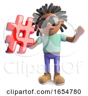 Cool Black African Man With Dreadlocks Holding An Email Address Symbol 3d Illustration