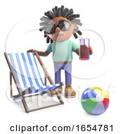 Relaxed Black Man With Dreadlocks On Holiday With Deckchair And Drink 3d Illustration