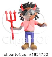 Black Man With Dreadlocks Wearing Devil Horns Holding A Trident 3d Illustration