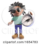 Black Man With Dreadlocks Holding A Magnetic Compass 3d Illustration