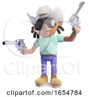 Cowboy Black Man With Dreadlocks Firing His Pistols 3d Illustration