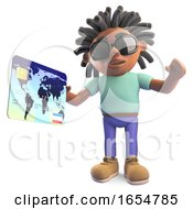 Cool Black Man With Dreadlocks Paying With A Debit Card 3d Illustration