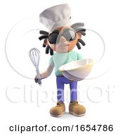 Cool Rasta Dreadlocks Man With Chef Hat And Mixing Bowl 3d Illustration by Steve Young