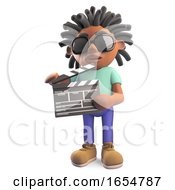 Black Man With Dreadlocks Making A Movie Holding A Film Slate 3d Illustration