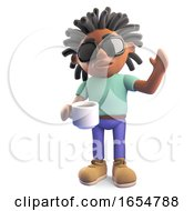 Poster, Art Print Of Thirsty Black Man With Dreadlocks Drinking A Cup Of Coffee 3d Illustration
