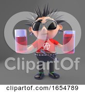 Cartoon Vicious Punk Rock Character Holding Two Drinks 3d Illustration