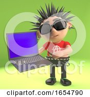 Technologically Minded Punk Rocker Using His New Laptop 3d Illustration