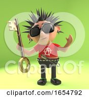 Crazy Punk Rock Kid Holding A Gold Key 3d Illustration