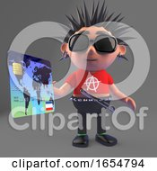 Cartoon Vicious Punk Rocker Paying At Checkout With A Debit Card 3d Illustration