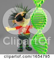 Cartoon Punk Rocker Looking At Dna Molecules 3d Illustration