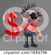 Cool Cartoon Punk Rock Character Holding A US Dollar Currency Symbol 3d Illustration