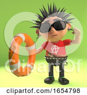 Helpful Punk Rocker Reaches Out With A Life Preserver Buoyancy Aid 3d Illustration