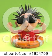 Vicious Punk Rocker Has Been Saved From Drowning With A Life Ring 3d Illustration