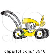 Yellow Lawn Mower Mascot Cartoon Character Passing By And Pointing Upwards