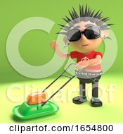 Cool Punk Rocker Mowing The Lawn With A Lawnmower 3d Illustration