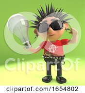 Crazy Punk Rocker Holding A Lightbulb 3d Illustration
