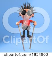 Silly Punk Rock Kid Walking On Stilts 3d Illustration