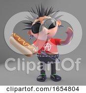 Poster, Art Print Of Hot Dog Says Vicious Punk Rocker Character 3d Illustration
