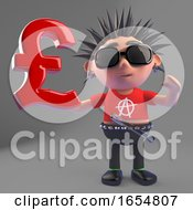 Vicious Punk Rocker Holds UK Pounds Sterling Currency Symbol 3d Illustration