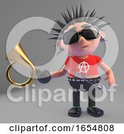 Vicious Punk Rocker Makes People Jump With His Antique Car Horn 3d Illustration