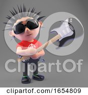 Poster, Art Print Of Vicious Punk Rock Character Smashing His Electric Guitar 3d Illustration