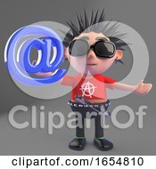 Funny Punk Rocker Holding An Email Address Symbol 3d Illustration