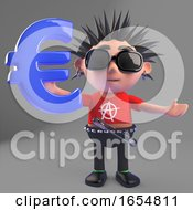 Vicious Cartoon Punk Rocker Holding A Euro Currency Symbol 3d Illustration