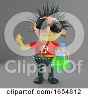 Funny Punk Rocker Holding A Flask Of Green Potion 3d Illustration