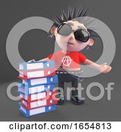 Cartoon Punk Rocker With A Pile Of Files And Folders 3d Illustration