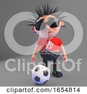 Cartoon Punk Rocker Kicking A Football 3d Illustration