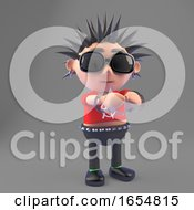 Vicious Punk Rocker Has Been Arrested And Is Wearing Handcuffs 3d Illustration