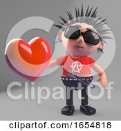 Poster, Art Print Of Rotten Punk Rocker Holding A Red Heart Because He Is A Romantic Softy Really 3d Illustration