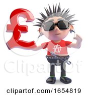 British Punk Holding A UK Pounds Sterling Currency Symbol 3d Illustration