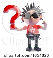 Curious Punk Character Has A Query Hence The Question Mark 3d Illustration