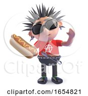 Hungry Punk Holding A Delicious Hotdog Snack 3d Illustration