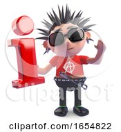 Rotten Punk Character Holding An Information Symbol 3d Illustration
