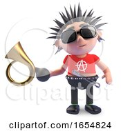 Funny Cartoon Punk Character Holding An Old Car Horn 3d Illustration