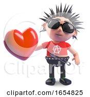 Poster, Art Print Of Vicious Cartoon Punk Holding A Romantic Red Heart 3d Illustration