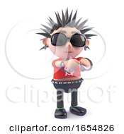 Vicious Punk Character Has Been Arrested With Handcuffs 3d Illustration