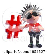 Funny Cartoon Punk Character Holding A Hashtag Symbol 3d Illustration