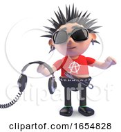 Cartoon Rotten Punk Character Holding Some Headphones 3d Illustration