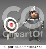 Accurate Medieval Knight In Armour Hits The Bullseye 3d Illustration