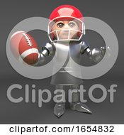 Medieval Knight In Armour Playing American Football 3d Illustration