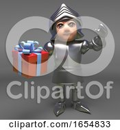 Brave Medieval Knight In Armour Holding A Gift Wrapped Present 3d Illustration